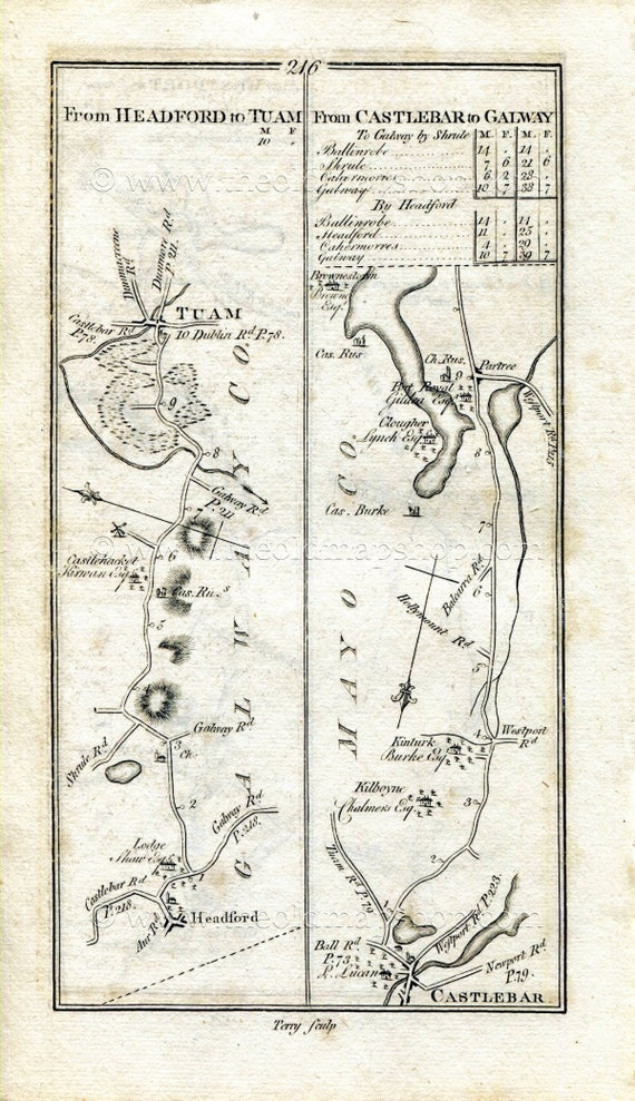 1778 Taylor Skinner Antique Ireland Road Map 215 216 Etsy