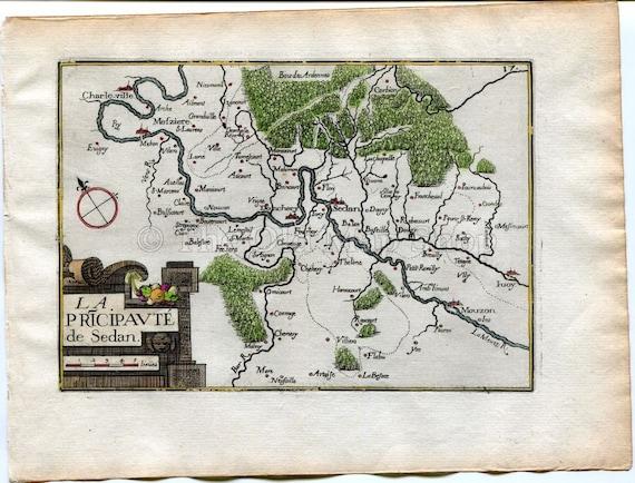 1634 Nicolas Tassin Map Sedan Donchery Charleville Mezieres Etsy