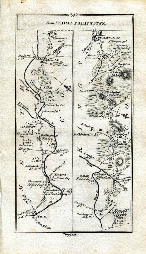 Westmeath Ireland Map.1778 Taylor Skinner Antique Ireland Road Map 247 248 Trim Etsy