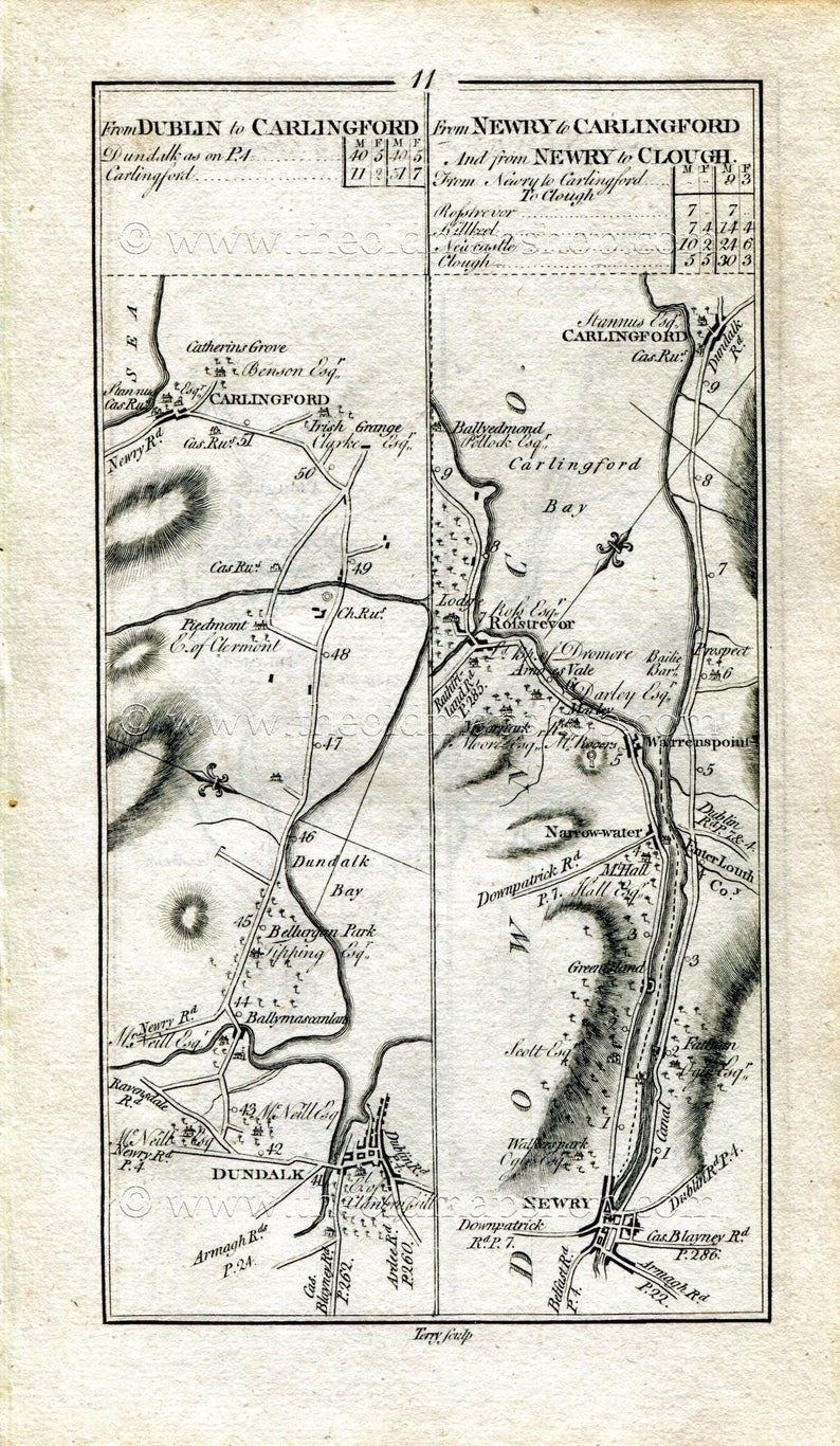 Dundalk Map Of Ireland.1778 Taylor Skinner Antique Ireland Road Map 11 12 Dundalk Etsy