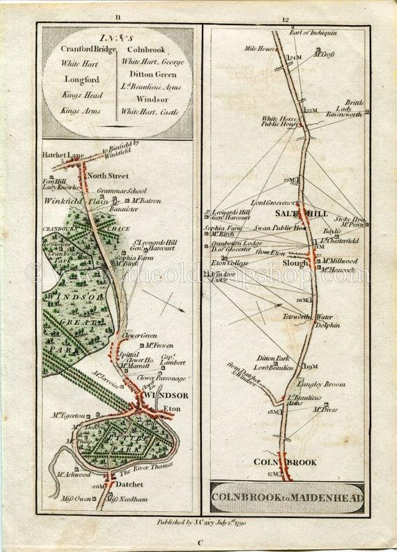 Stone Northfleet Gravesend 1790 John Cary Antique Road Map 5152 Bexleyheath Shorne Crayford Chalk Dartford