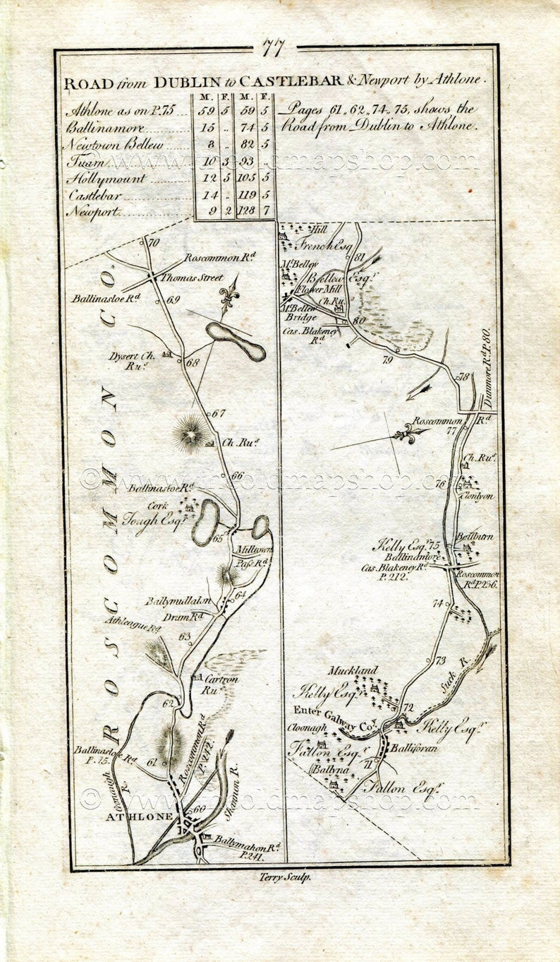 Map Of Ireland Showing Athlone.1778 Taylor Skinner Antique Ireland Road Map 77 78 Athlone Dysart Ballyforan Ballinamore Mountbellew Moylough Castlemoyle Tuam Kilglassan