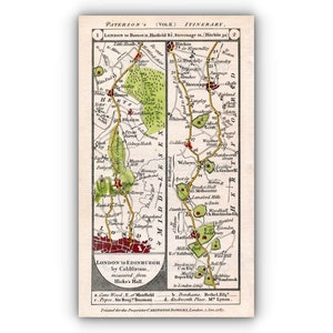 London Cricklewood 1790 John Cary Antique Road Map 1920 Amersham Bushey Heath Paddington Kilburn Edgeware Stanmore The Hyde