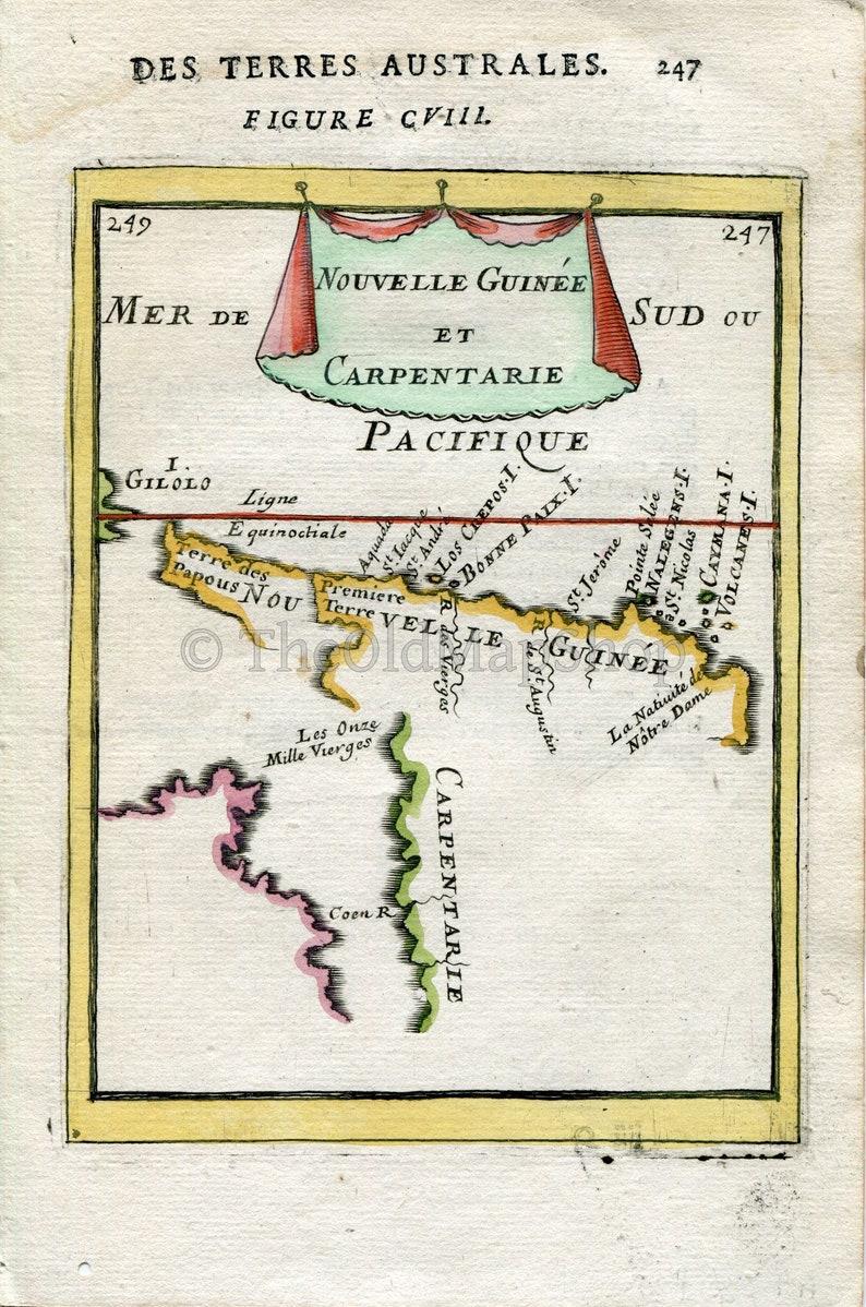 Map Of Australia Cape York Peninsula.1683 Manesson Mallet Antique Map Australia New Guinea Queensland Cape York Peninsula Nouvelle Guinee Et Carpentarie Print