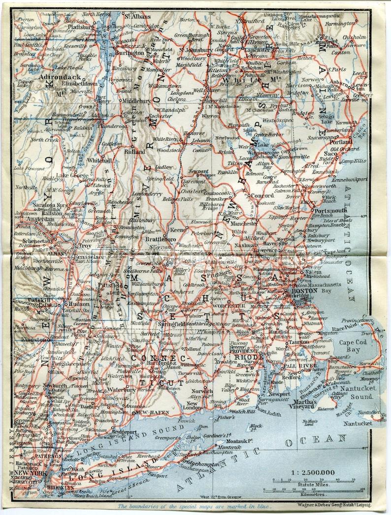 New Hampshire Rhode Island Boston Massachusetts Antique Map 1909 New York Print Long Island