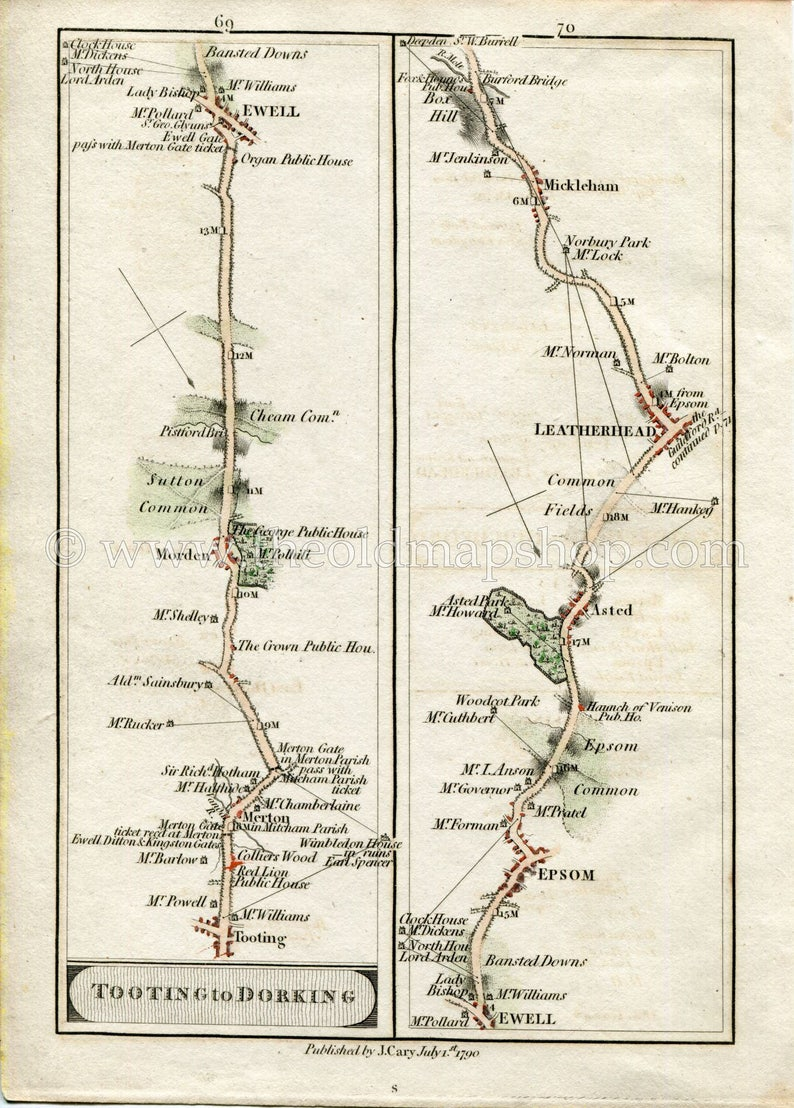 Map69.1790 John Cary Antique Road Map 69 70 Tooting Merton Morden Ewell Epsom Ashtead Leatherhead Mickleham