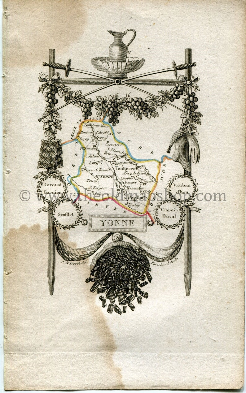 Map Of Yonne France.1823 Perrot Map Of Yonne France Antique Map Print Outline Etsy
