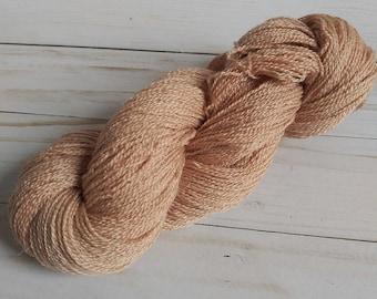 Merino Wool Silk Avocado Dyed Bluestockinette Lace Yarn Hand Dyed Pink Beige