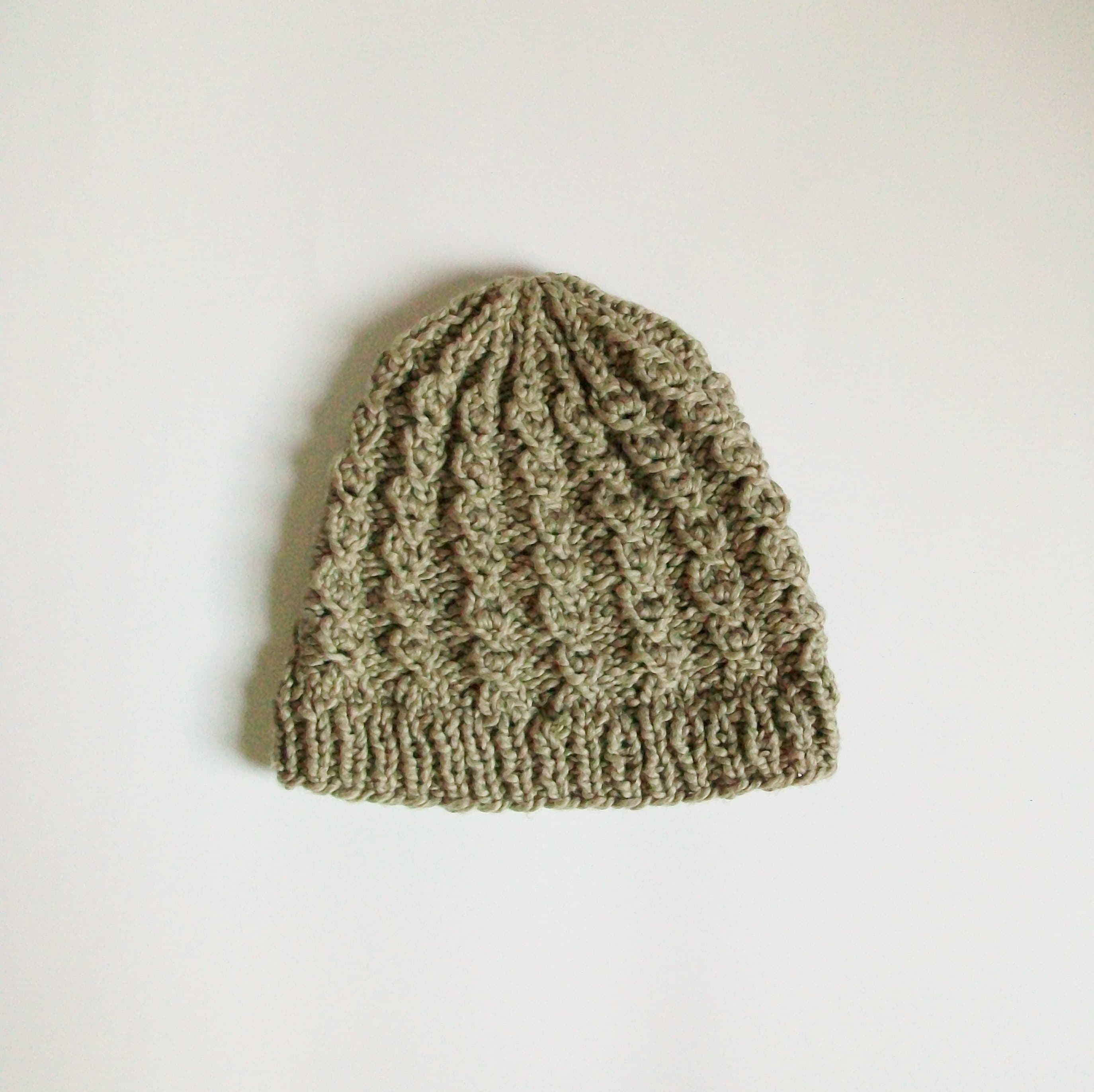 a7c1d40ca Sage Green Cotton Cable Knit Hat Rustic Twist Beanie Organic Adult Size