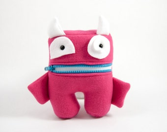 Pink and White Tooth Fairy Pillow- Pocket Monster- Colorful Monster Plush