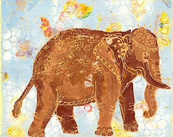 """Elephant from India, original mixed elephant painting, 20"""" x 20"""""""