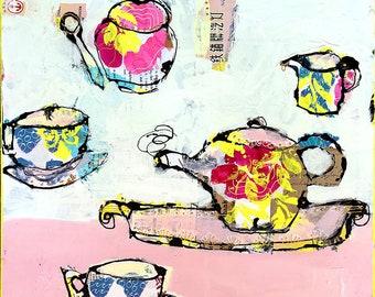 "Tea with Granny, original mixed media tea cup painting, 18"" x 18"""