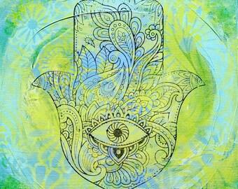 """Hamsa Hand, mixed media painting, 12"""" x 12"""""""