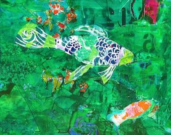 Emerald Koi Pond, original painting