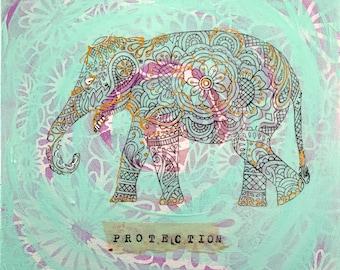"""Protection Elephant, mixed elephant painting, 12"""" x 12"""""""