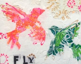 FLY, handmade bird painting