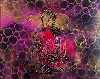 "Spray Paint Buddha, original mixed media buddha painting, 14"" x 18"""