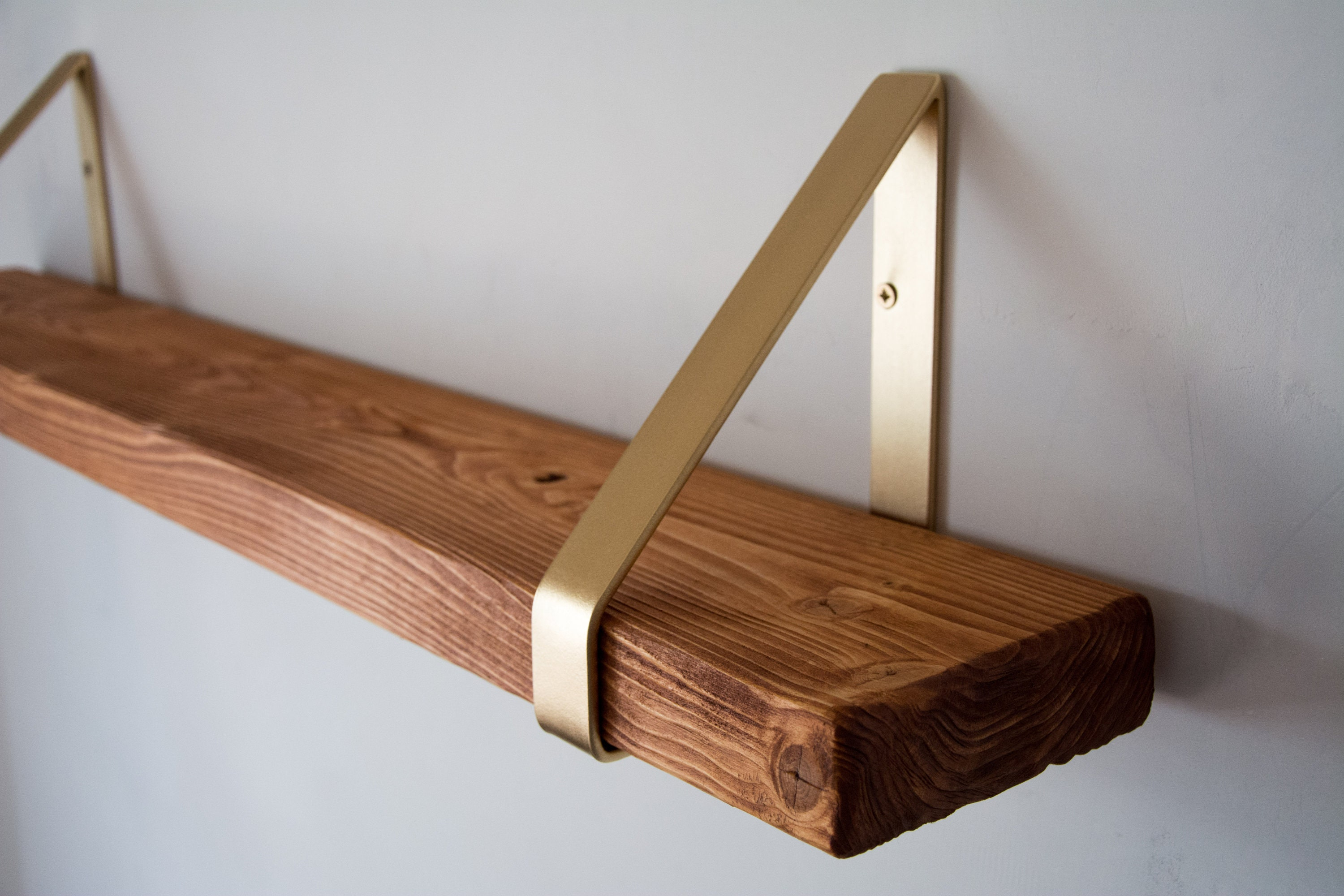 Calvados Rustic Chunky Solid Wooden Wall Shelf With Gold