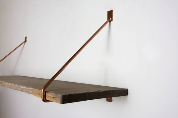 Pair Of Minimalist Copper Shelf Brackets Newest Design
