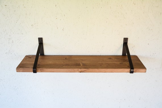 Rustic Wood Shelf With Unpainted Steel Brackets For Leigh Hope