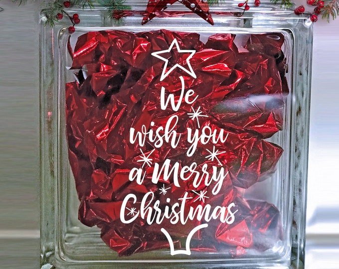 Featured listing image: We Wish You a Merry Christmas - Holiday Vinyl Sticker -Christmas Decal   Holiday Crafts