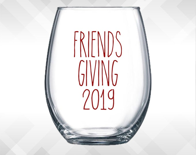 Featured listing image: Friendsgiving Decal - Modern Version - Thanksgiving decals - Holiday Vinyl Sticker for wine glasses, tumblers, etc DECAL only