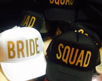 Bride SQUAD Hats   FREE BRIDE Hat    Hats for Bachelorette Party   Bridal  Party   or For Your Squad Girls aec6f3b950f