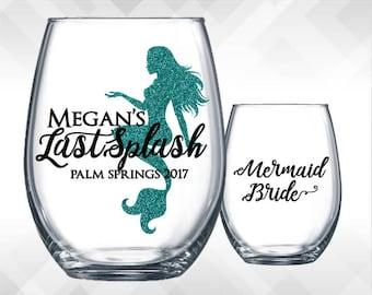 Last Splash - Mermaid Bachelorette Weekend Party Wine Glass or Plastic Tumbler Vinyl DECALS -Vinyl Stickers
