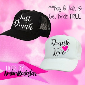 92c53155 Just Drunk Hats - FREE white BRIDE Hat* - Perfect for Bachelorette Parties  - Trucker hat