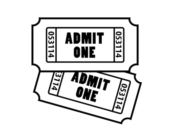 "Featured listing image: Customize Admit One ""Tickets"" Decal ~ Perfect for making ticket memory shadow boxes"