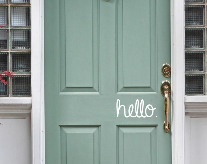Featured listing image: Hello front door vinyl sticker decal - trendy hello. available in multiple sizes and colors.