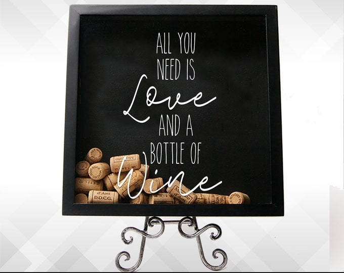 Featured listing image: All You Need is Love and A Bottle of Wine - Vinyl Sticker Decal - Choose Color & Size!