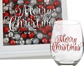 Merry Christmas Decal - Holiday Vinyl Sticker | Christmas Glass Block Vinyl Decal