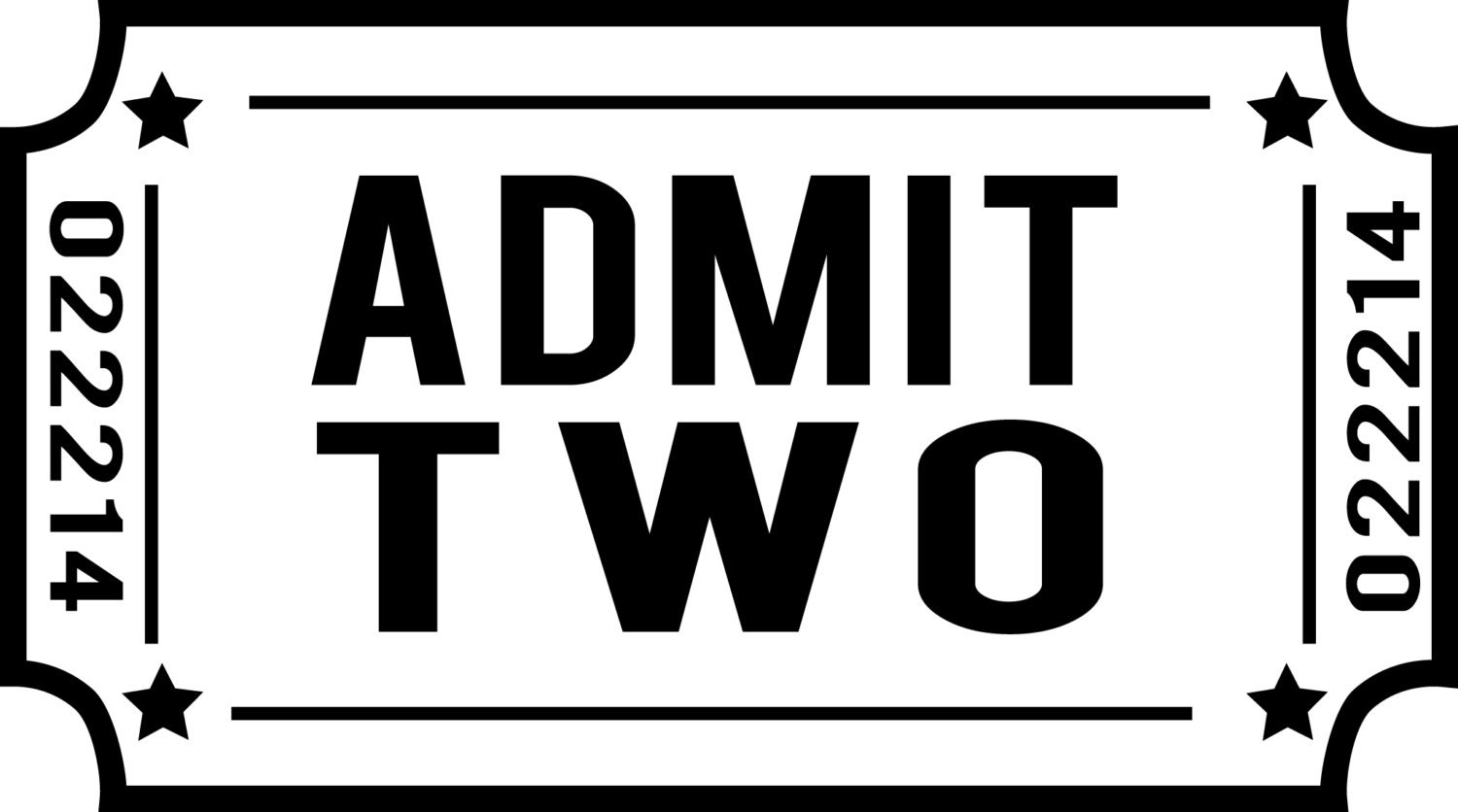 customize admit two ticket decal perfect for making ticket. Black Bedroom Furniture Sets. Home Design Ideas