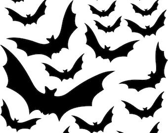18 Vinyl Decal Bats for Halloween - Halloween Decorations - For Windows, Door, Pumpkins, Halloween Stickers