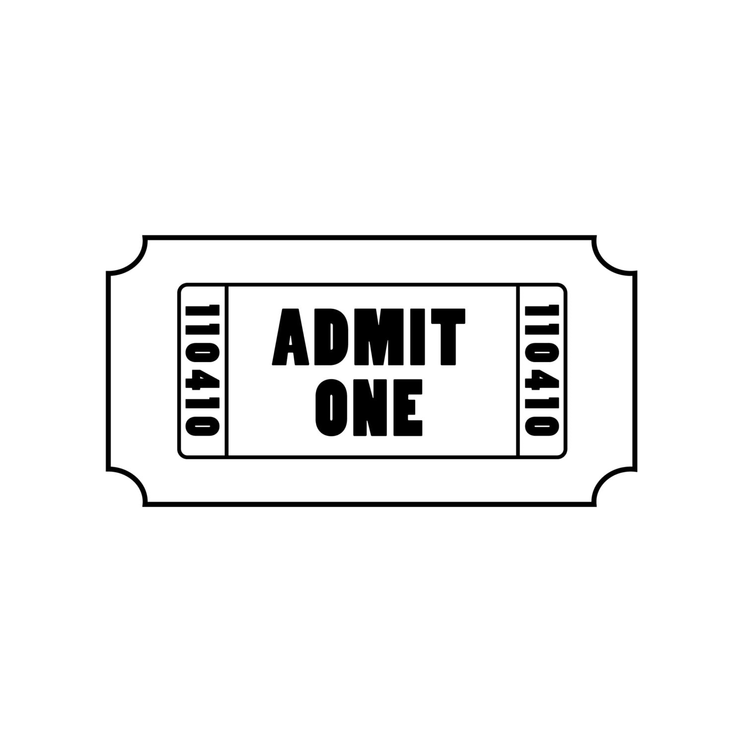 admit one ticket decal perfect for making ticket etsy