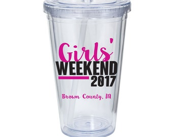 Girls' Weekend Wine Glass or Plastic Tumbler DECALS - diy Cup Stickers- GLITTER available! Cup NOT included.