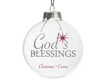God's Blessing CUSTOMIZE an Ornament DECAL ONLY- Holiday Vinyl Sticker - Christmas Decal