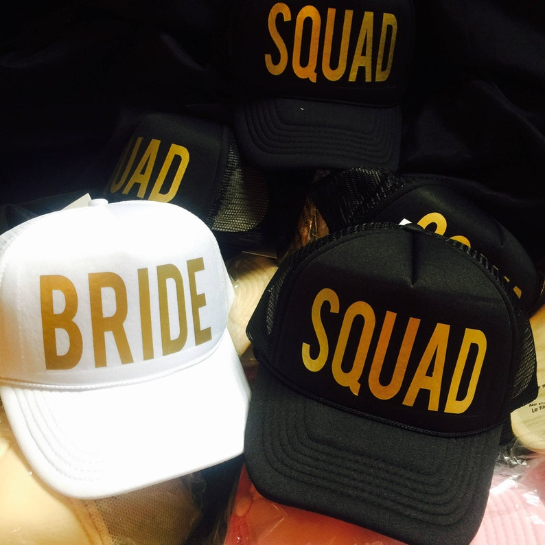 Bride SQUAD Hats / FREE BRIDE Hat / Hats for Bachelorette image 0