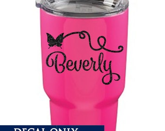 Butterfly Name Decal - Vinyl Sticker - Monogram Yeti Tumbler Decal
