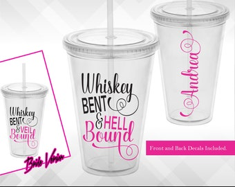 Bachelorette Decals - Whiskey Bent & Veil Bound   Hell Bound Bachelorette Weekend Party Wine Glass or Plastic Tumbler DECALS ONLY