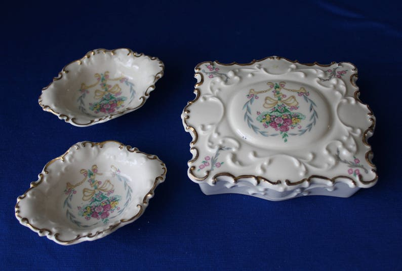 Concorde Fine China Zapun Covered Trinket Dish and 2 Small Bowls Victorian 3-Piece Set