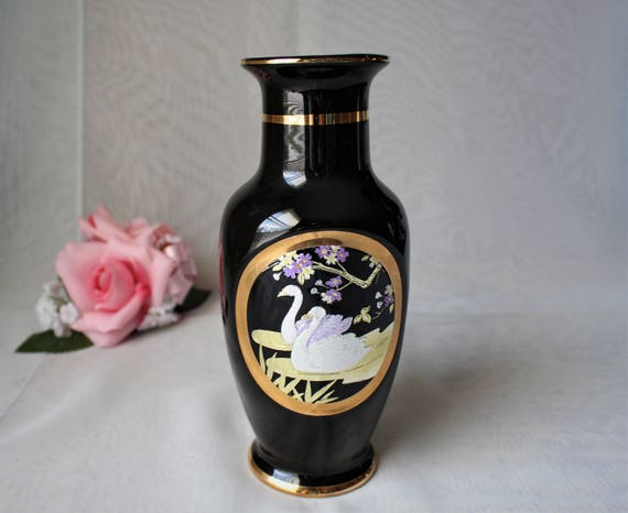 Art Of Chokin Black Asian Vase 24k Gold Edge With 2 Silver Etsy
