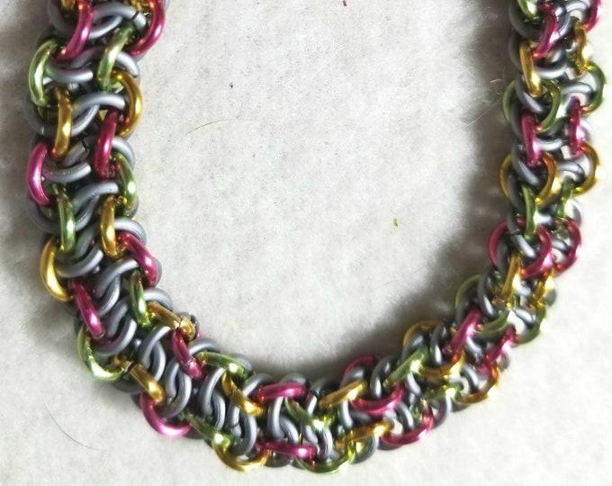 Vipera Berus Weave Bracelet; Chain Bracelet; chainmaille bracelet, Multi Color Bracelet