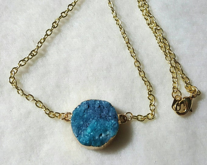 Teal Druzy Necklace, Teal Necklace, Druzy Necklace