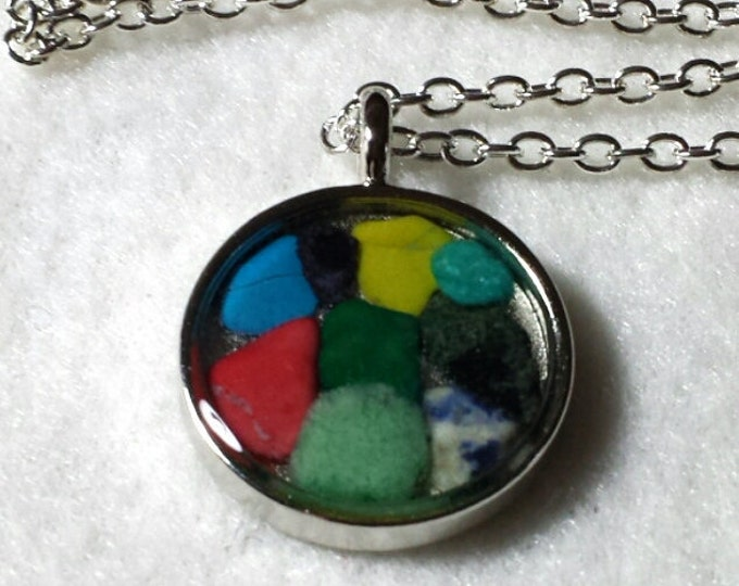 Mosaic Mixed Gemstone Necklace, Gemstone Necklace, Mosaic Gemstone Necklace