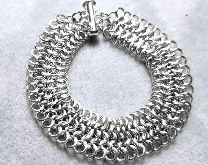 Chain Maille Bracelet, Woven Bracelet, Silver Bracelet, Gift for  Her