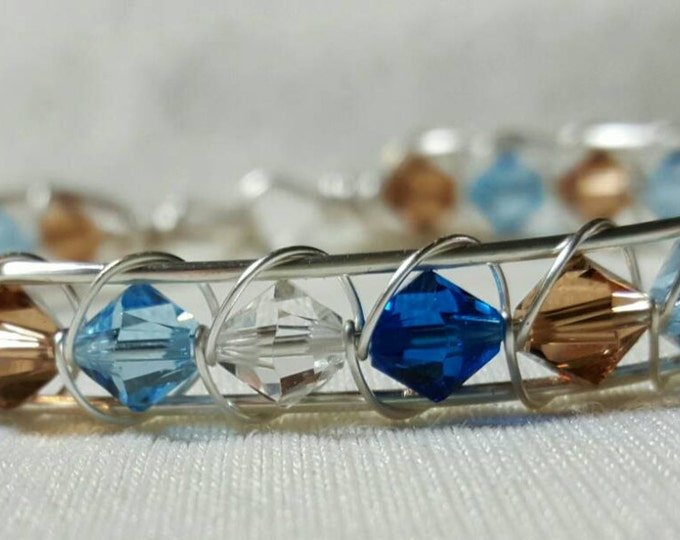 Swarvoski Crystal Blue Wire Wrapped Bangle Bracelet
