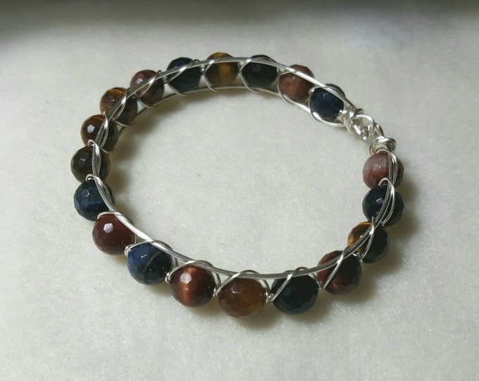 Mixed Tigers Eye Wire Wrapped Bangle Bracelet
