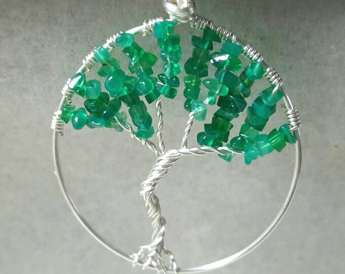 Green Apatite Tree of Life Necklace
